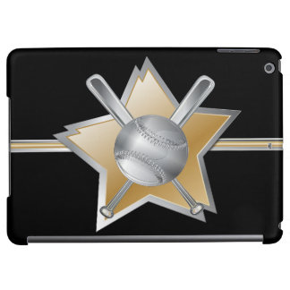 Gold and silver effect baseball star iPad air cover