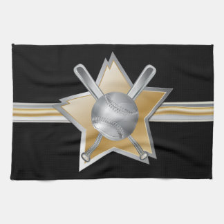 Gold and silver effect baseball star hand towel