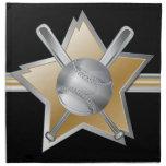 Gold and silver effect baseball star napkin