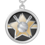 Gold and silver effect baseball star round pendant necklace