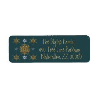 Gold and Silver Fancy Snowflakes Fir Green Label