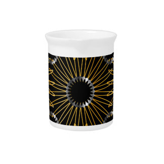 Gold and silver floral artwork drink pitcher