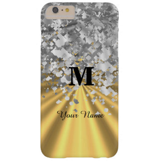 Gold and silver glitter monogrammed barely there iPhone 6 plus case
