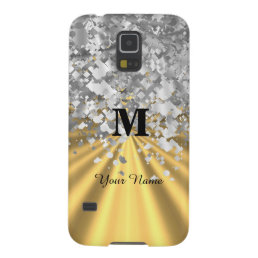 Gold and silver glitter monogrammed galaxy s5 case