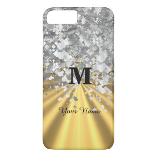 Gold and silver glitter monogrammed iPhone 7 plus case