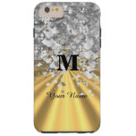 Gold and silver glitter monogrammed tough iPhone 6 plus case