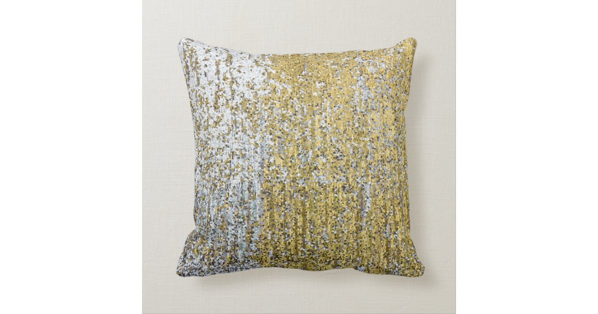 Gold and Silver Grunge Glitter Throw Couch Pillow Zazzle