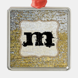 Gold and Silver Grunge Monogram Initial Ornament