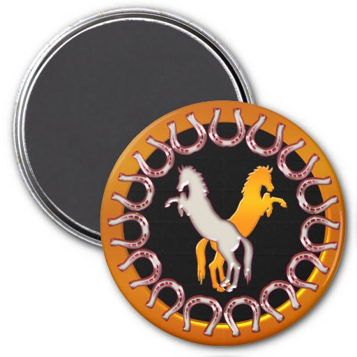 Gold and Silver Horseshoes and Horses 3 Inch Round Magnet