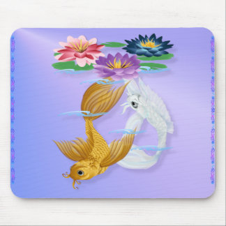 Gold and Silver Koi with Lilies Mousepads