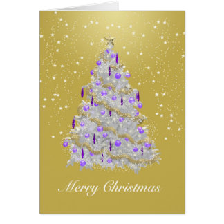 Gold and Silver Merry Christmas Tree Greeting Card