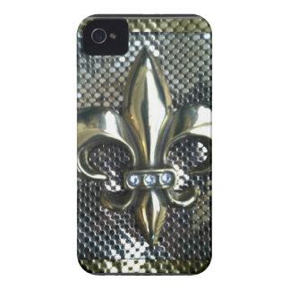 GOLD AND SILVER MESH FLEUR-DE-LIS PRINT Case-Mate iPhone 4 CASE