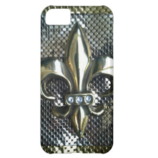 GOLD AND SILVER MESH FLEUR-DE-LIS PRINT COVER FOR iPhone 5C