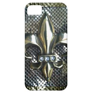 GOLD AND SILVER MESH FLEUR-DE-LIS PRINT iPhone SE/5/5s CASE