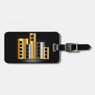 Gold and silver skyscrapers tags for luggage