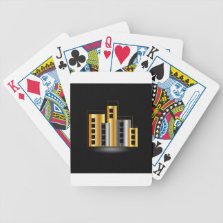 Gold and silver skyscrapers bicycle playing cards
