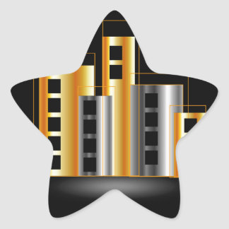 Gold and silver skyscrapers star sticker