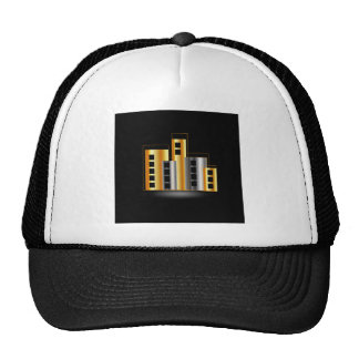 Gold and silver skyscrapers trucker hat