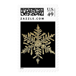 Gold and Silver Snowflake Festive Holiday Stamp