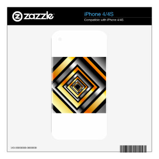 Gold and silver squares forming perspective skin for iPhone 4