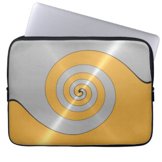 Gold and Silver Stainless Steel Metal Swirl Laptop Sleeve