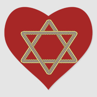 Gold and Silver Star of David for Bar Bat Mitzvah Heart Sticker
