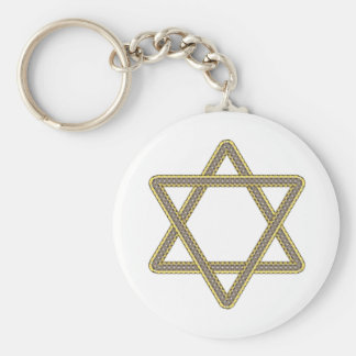 Gold and Silver Star of David for Bar Bat Mitzvah Keychain