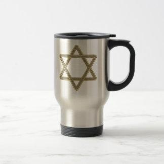 Gold and Silver Star of David for Bar Bat Mitzvah Travel Mug