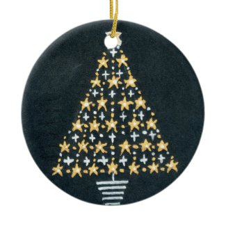 Gold and Silver Star Tree Christmas Ornament ornament