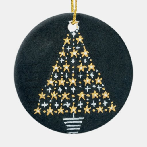 Gold and silver star tree christmas ornament zazzle for Christmas tree with gold and blue ornaments