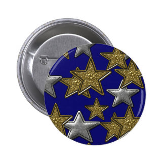 GOLD AND SILVER STARS PINBACK BUTTON