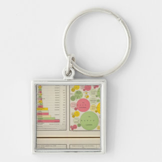 Gold and Silver Statistical Charts Silver-Colored Square Keychain
