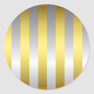 Gold and Silver Stripes Round Stickers