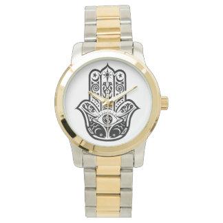 gold and silver tone watch, hamsa,fatima watch