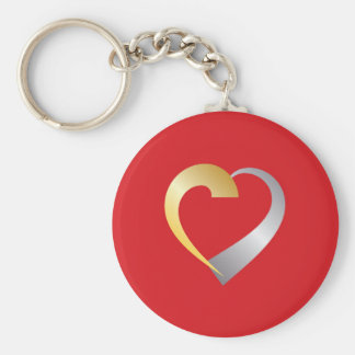 Gold and silver Valentine Heart Keychain