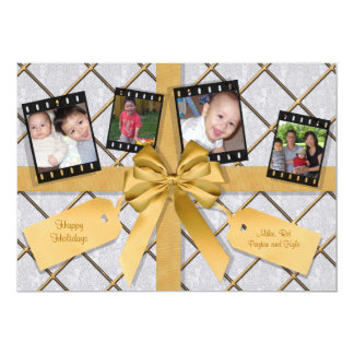 Gold And Silver Wrapped Package Flat Holiday Card Invitation