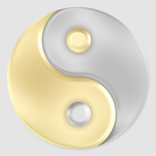 Gold And Silver Yin And Yang Classic Round Sticker Zazzle