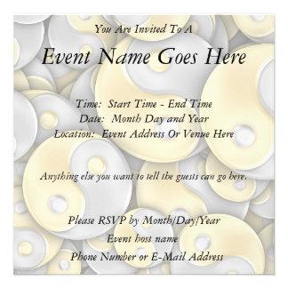 Gold and Silver Yin and Yang Custom Invitations