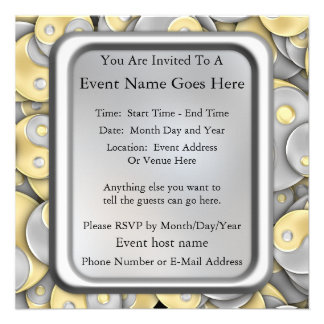 Gold and Silver Yin and Yang Personalized Invitation