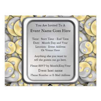 Gold and Silver Yin and Yang Personalized Invitations