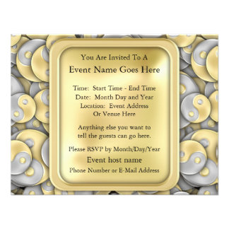 Gold and Silver Yin and Yang Custom Invites