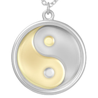 Gold and Silver Yin and Yang Silver Plated Necklace