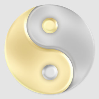 Gold and Silver Yin and Yang Round Stickers