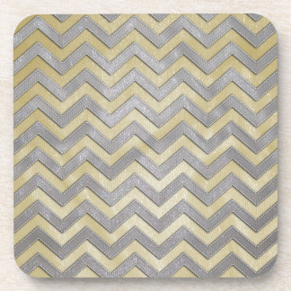 Gold and Silver Zig Zags Beverage Coasters