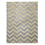 Gold and Silver Zig Zags Spiral Notebooks