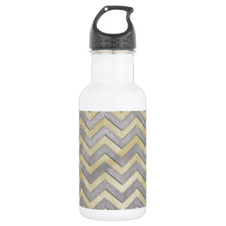 Gold and Silver Zig Zags Stainless Steel Water Bottle