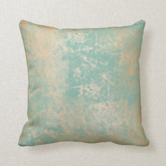 Gold and Teal Antique Pattern with Edge Stitching Throw Pillow
