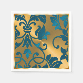 Gold and Teal Blue Damask Disposable Napkins