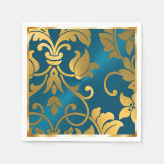 Gold and Teal Blue Damask Disposable Napkin