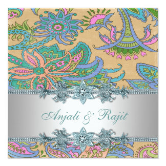 Gold and Teal Blue Paisley Wedding Card